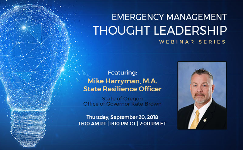 Time Running Out to Register for BOLDplanning's Free Emergency Management Thought Leader Webinar Featuring Oregon's First State Resilience Officer