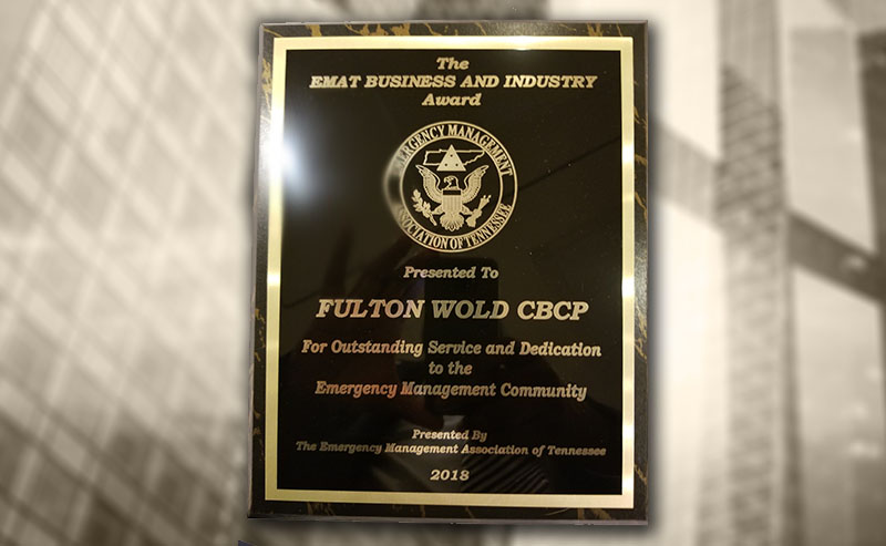 BOLDplanning CEO, Fulton Wold, Receives Emergency Management Agency of Tennessee's (EMAT) Business and Industry Recognition Award